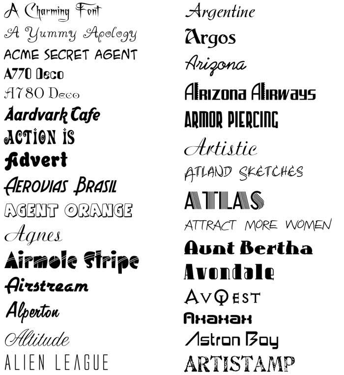 Computer font names
